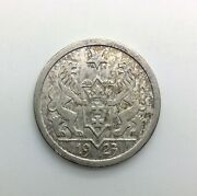 1923 Danzig 2 Gulden Silver Sharp And Very Original Surfaces Scarce Not Cleaned