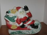 Empire 1970 Christmas Blow Mold Santa Claus W. Toys In Sleigh Light Tested Works