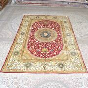 Yilong 6and039x9and039 Vintage Handmade Silk Carpets Gold Kid Friendly Area Rug Mc287c