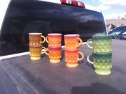 Lot Of 8 Anchor Hocking Fire King Coffee Cupsandnbspmugs. Gold Green