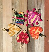 Juhue Mexican Handmade Otomi Embroidered Keychain/charm 5 Colors Avail New