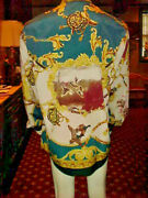 Vintage Mens Silk Shirt British Duck Hunting Theme Made In Italy Multi-color Xlg