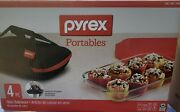 Pyrex Portables 4 Piece 9x13 Casserole Dish Insulated Carrier Hot Cold Pack Nib