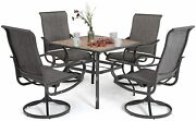 Phi Villa 5 Pieces Patio Table Chairs Sets Outdoor Rocker Swivel Dining Chair