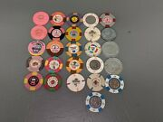 Lot Of 26 Casino Poker Chips Las Vegas Trump Marina And Others H6