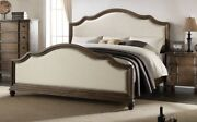 Queen Size Bed Wooden Beige/ Oak Finish Bedroom Padded Fabric Modern Style 1pc