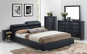 Modern 3pc Master Bedroom Set Queen Size Storage Furniture Whole Bed W/ Black Pu