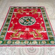 Yilong 8and039x10and039 Red Handmade Silk Carpets Dragon Pictorial Unique Area Rug M269c