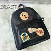 Coach Disney Micky And Minnie Mouse Collaboration Signature Backpack New F/s Ksmi