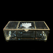 Antique Large Victorian Beveled Etched Glass Beaded Metal Jewelry Trinket Box