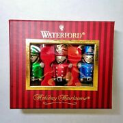 Waterford Holiday Heirlooms Toy Soldier Boxed Set Of 3 Glass Christmas Ornaments