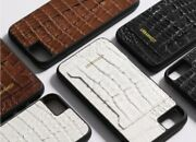 For Apple Iphone 12 Pro Max/uw Caiman Leather Handmade Cell Phone Backcover Case