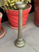 Antique Brass Hand Crafted Jain Temple 18.5and039and039 Big Oil Lamp Candle Stand Marked