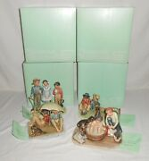 """Complete Set Vintage Norman Rockwell Four Seasons """"me And My Pal"""" Figurines"""