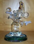 Disney Mickey Mouse Blown Glass Figure Frosted Hands Arribas Bros Wizard
