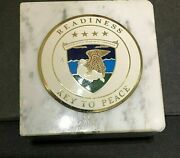 Vtg. U.s. Army Readiness Command Challenge Coin Key To Peace Marble Paper Weight