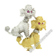 18k White And Yellow Gold Diamond And Ruby Textured Detailed Poodle Dogs Pin Brooch