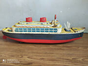 Rare Vintage Battery Powered Huge Tin Plate Ocean Liner Of 50's Made In Japan.