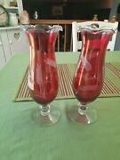 2 Vintage Ruby Red Etched Glass With Clear Pedestal Bottom 10.5 Tall Vases