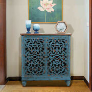 Storage Cabinet With Doors Vintage Wooden Accent Display Organizer Console Table