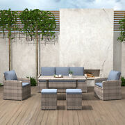 Outdoor Dining Table Set Patio Conversation Furniture Light Brown Wicker