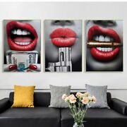Red Lips Sexy Lip With Gun And Money Canvas Art Painting Modern Wall Decor Art