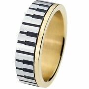 1pc Unisex Piano Rings 7mm Wide Stainless Steel Gold Pianist Keyboard Style Ring