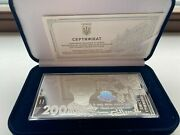 Ukrainesilver Souvenir Banknote Of The 200 Hryvnia Silver 2021 Year