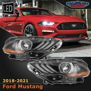 Fit 18-21 Ford Mustang Replacement Projector W/ Led Headlights Drl Headlamps Bla