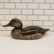 Max Thompson 1985 Mallard Carved Wood Duck Decoy Hand Painted Signed