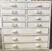 Antique Vintage Cabinet Chest 12 Drawers Rustic Primitive White Barn 30x29x10
