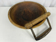 Early 19th Century Wooden Bowl And Double Arm Curved Food / Herb Chopper Antique