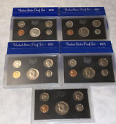 5 United States Coin Proof Sets San Francisco Mint 1970, 3-1971, 1972 1¢-50¢