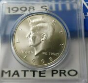 1998-s Silver Matte Finish Proof Kennedy Half Dollars 90 Silver Fresh Coin