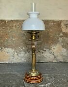 Superb Tall 19thc 'matador' Brown Ceramic And Milky White Brass Table Oil Lamp