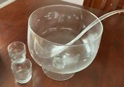 Princess House - Heritage Pedestal Punch Bowl, 12 Glasses And Ladle New