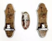 Set Of 3 Vintage Upcycled Shabby Rustic Wall Sconce Tapered Candle Holders Ooak