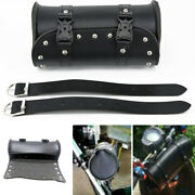 1x Black Pu Leather Motorcycle Tool Bag Saddlebags With Chrome Studs Waterproof