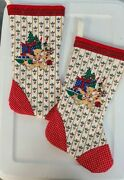 Set Of 2 Vintage Quilted Christmas Stockings 16andrdquo Toys Teddy Bear Handmade