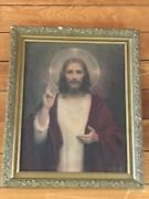Vintage Young Jesus Holding Up Of The Son Fingers Hand Pring In Old Ornate Gilt