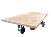 Antique Factory Cart Coffee Table Wrought Iron Wheels 4086