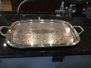 1881 Rogers Antique Croydon C.1930and039s 26 1/2 Handle To Handle Butlerand039s Tray
