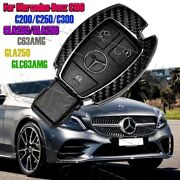 Real Carbon Fiber Remote Key Shell Cover Case For Mercedes-benz C180/200/250/300