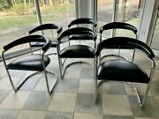 Gordon International 6 Black Leather And Chrome Dining Chairs By Anton Lorenz