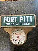 Large Vintage 1950s Fort Pitt Special Beer Electric Lighted Clock W/ Wall Mount