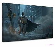 Amazing Batman Standing In Destroyed City Canvas Wall Art Picture Print
