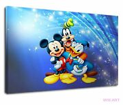 Mickey Mouse With Goofy And Donald Duck Digital Art Canvas Wall Art Picture Print