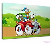 Donald Duck With His Nephews Digital Illustration Canvas Wall Art Picture Print