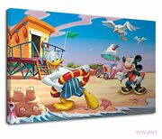 Donald Duck And Mickey In The Sea Beach Holiday Canvas Wall Art Picture Print