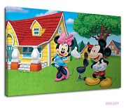 Mickey And Minnie Having Barbeque On Their Garden Canvas Wall Art Picture Print